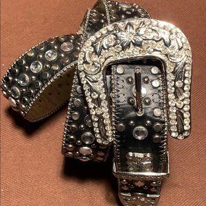 BHW Leather Sparkly Embellished studded belt
